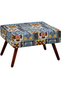 Puff Decorativo Charme Retangular Suede Estampado Azulejo Portugues D06 - D'Rossi