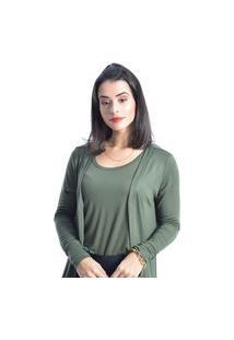 Conjunto Feminino Cardigan Alongado Com Regata Cor Verde Militar