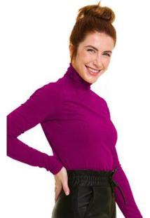 Blusa Gola Alta Canelada Púrpura Jogabe Feminina - Feminino-Violeta+Preto