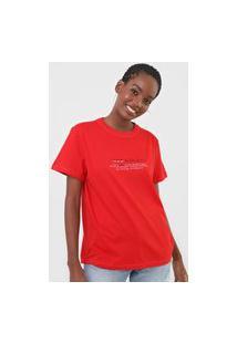 Camiseta Colcci Lettering Vermelha