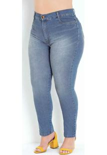 Calça Jeans Cigarrete Básica Plus Size Sawary