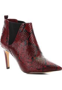 Bota Cano Curto Shoestock Salto Fino Snake Feminina - Feminino-Vinho