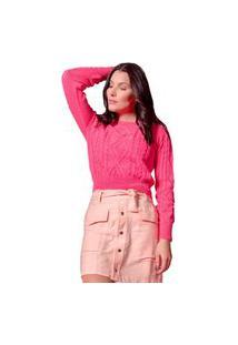 Blusa Feminina Em Tricô Ana Gonçalves Detalhes Trançados Pink