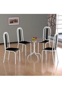 Conjunto De Mesa Alicante Com 4 Cadeiras Granada Branco E Preto Liso