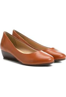 Sapato Azaleia Salto Anabela Médio - Feminino-Nude