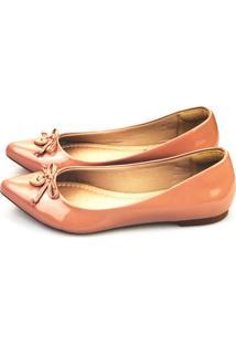 Sapatilha Love Shoes Bico Fino Laço Coração Verniz Nude