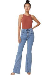 Calça Jeans Flare Com Recorte Frente