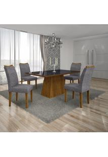 Conjunto Sala De Jantar Mesa Tampo Mdf/Vidro Preto 4 Cadeiras Pampulha Leifer Canela/Linho Cinza