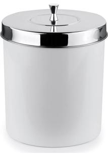 Lixeira Banheiro Cozinha Branca 5 Litros Com Tampa Aço Inox