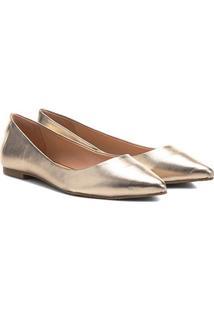 Sapatilha Couro Shoestock Bico Fino Metalizada Feminina - Feminino