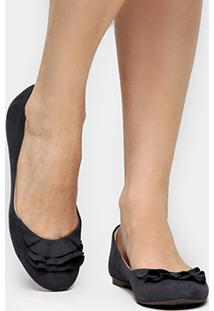 Sapatilha Couro Shoestock Babados Feminina - Feminino-Marinho