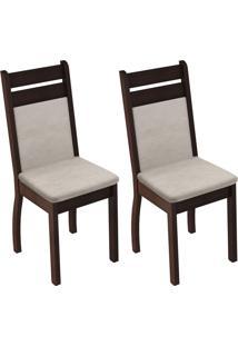 Kit 2 Cadeiras 4238X Suéde Pérola Active Madesa