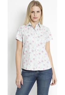 Camisa Floral- Verde Claro & Rosa- Intensintens
