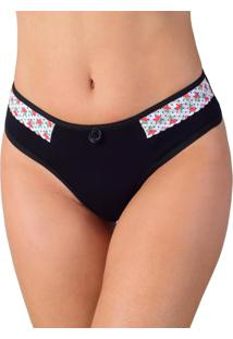 Calcinha Vip Lingerie Cotton Com Renda Estampada Preto