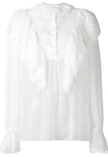 Dolce & Gabbana Blusa Com Babados - Branco