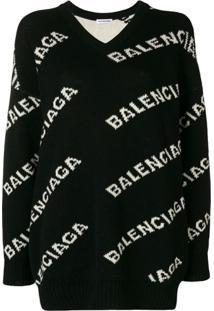 Balenciaga Suéter Gola V Com Logo - Preto