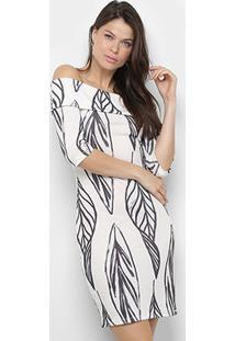 Vestido Lança Perfume Tubinho Estampado Ombro A Ombro - Feminino-Branco+Preto