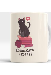 Caneca Books, Cats And Coffee