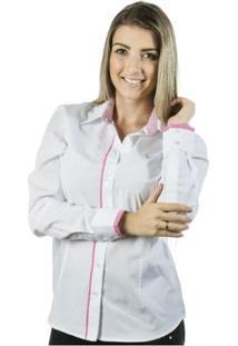Camisa Pimenta Rosada Angelina - Feminino-Branco+Rosa