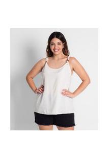 Blusa Plus Size Feminina De Alça Secret Glam Bege