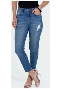 a29eddc93 Marisa. Calça Feminina Jeans Cigarrete Cintura Alta Puídos Marisa