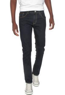 Calça Jeans Rock Blue Reta Pespontos Azul-Marinho