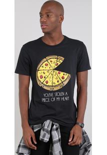 Camiseta Masculina Com Estampa De Pizza Manga Curta Gola Careca Preta
