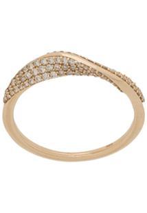 Astley Clarke Anel Vela Twist De Ouro Amarelo 14K Com Diamante - Dourado