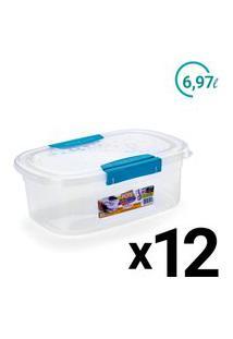 Conjunto Pote Plast Microondas Freezer Ultraforte 6,9L 12Un