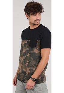 Camiseta Masculina Estampada Camuflada Manga Curta Gola Careca Preta