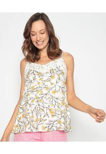 Blusa Floral Com Renda - Branca & Amarela - Lanã§A Pelanã§A Perfume