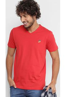 Camiseta Coca-Cola Gola V Masculina - Masculino-Vermelho