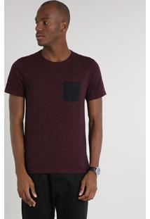 Camiseta Masculina Slim Fit Estampada Com Bolso Manga Curta Gola Careca Vinho