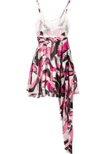 Pinko Vestido Evasê Com Detalhe De Renda - Rosa