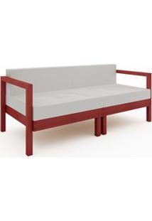 Sofá 2 Lugares Componível Com Almofadas Lazy Stain Vermelho - Mão & Fo