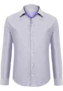 Camisa Masculina New Lyon Saten - Cinza