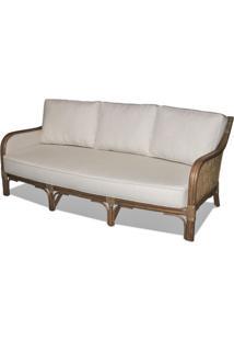 Sofa Nogales 3 Lugares Assento Cor Branco Com Base Madeira Apui - 44788 - Sun House