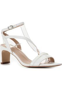 Sandália Couro Shoestock Salto Médio Feminina - Feminino-Branco