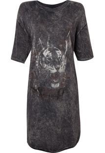 Camiseta John John Oversized Tiger Smooth Feminina (Cinza Escuro, M)