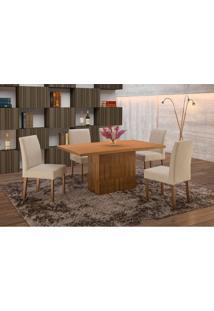 Conjunto De Mesa De Jantar Com 6 Cadeiras E Tampo De Madeira Maciça Arezo Ii Suede Castanho E Creme