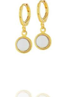 Brinco Argola Pingente Circular Cristal Transparente Semi Joia Dourado Feminino - Feminino-Dourado