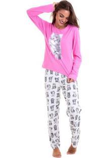 Pijama De Inverno Em Algodão Luna Cuore Feminino - Feminino-Pink