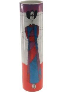 Vaso Decorativo Sala Cerâmica Vestido Japa Vermelho 25X7X7Cm