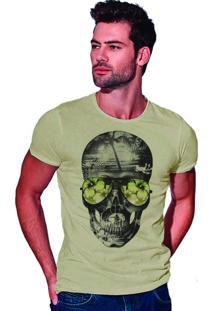 Camiseta Estonada Corte À Fio Joss Beach Skull - Areia