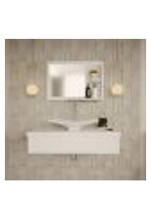 Conjunto Para Banheiro Bancada Com Cuba F44 Folha E Espelheira City 801 Branco Chess