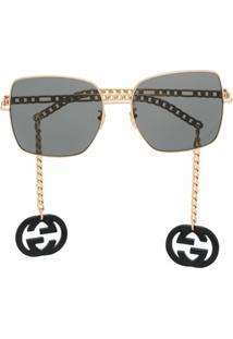 Gucci Eyewear Óculos De Sol Quadrado 623844I3330 - Dourado