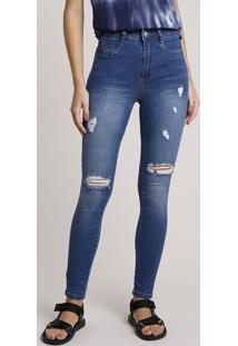 Calça Jeans Feminina Sawary Skinny Lipo Cintura Alta Com Rasgos Azul Médio