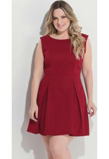 Vestido Quintess Bordô Plus Size Com Pregas