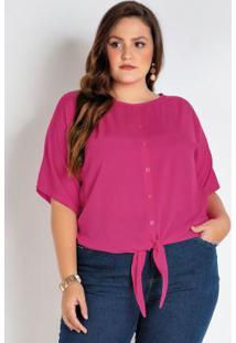 Camisa Plus Size Pink Com Amarração E Botões