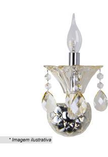 Arandela Maria Thereza- Cristal & Inox- 18X19X19Cm